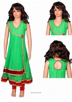 Demure Green Lycra Salwar Kameez
