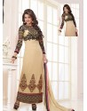 Cream And Black Georgette Churidar Suit