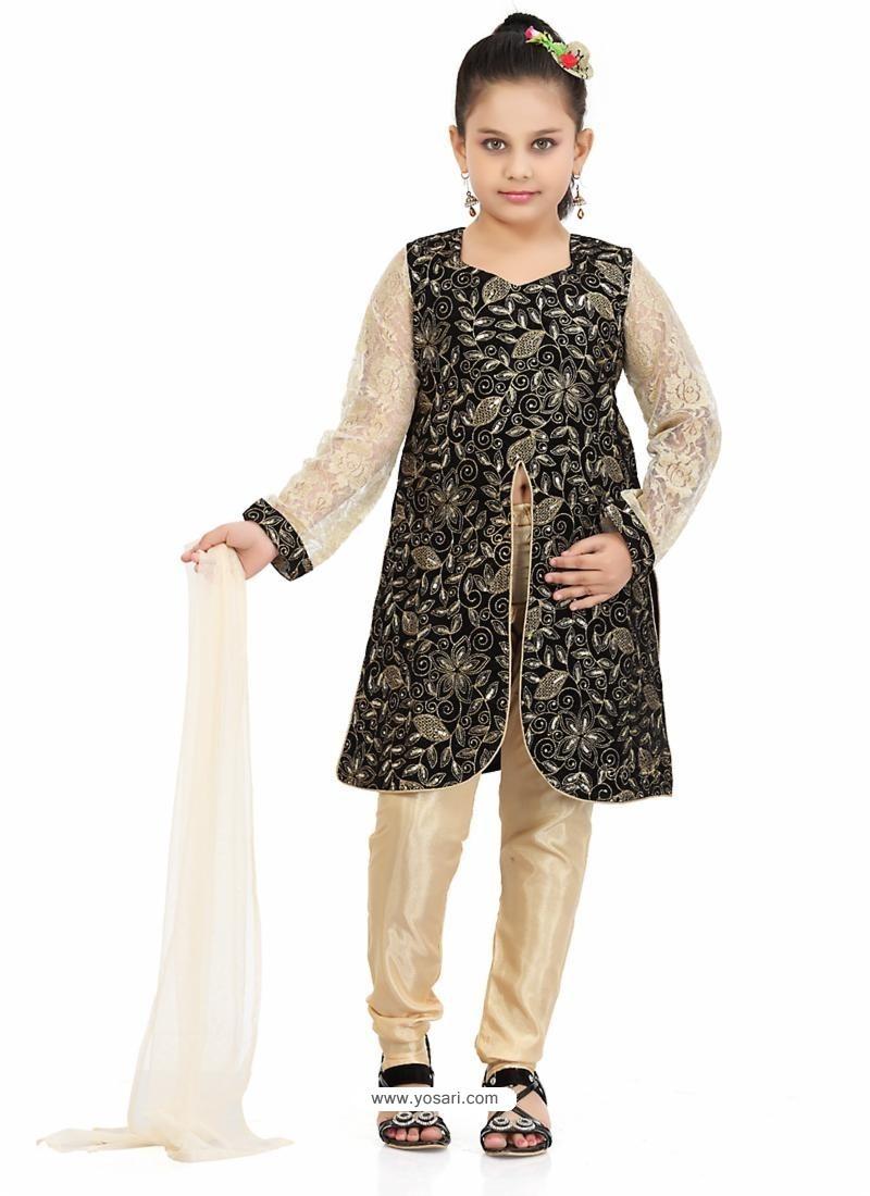 75d93e8fb35 Buy Artistic Cream Art Silk Readymade Salwar Kameez