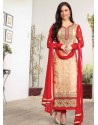 Red And Cream Zari Work Churidar Suit