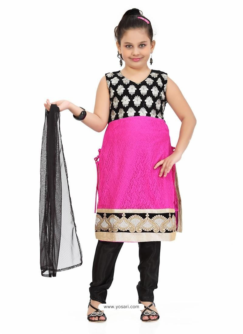 Glossy Black Girl's Salwar Kameez