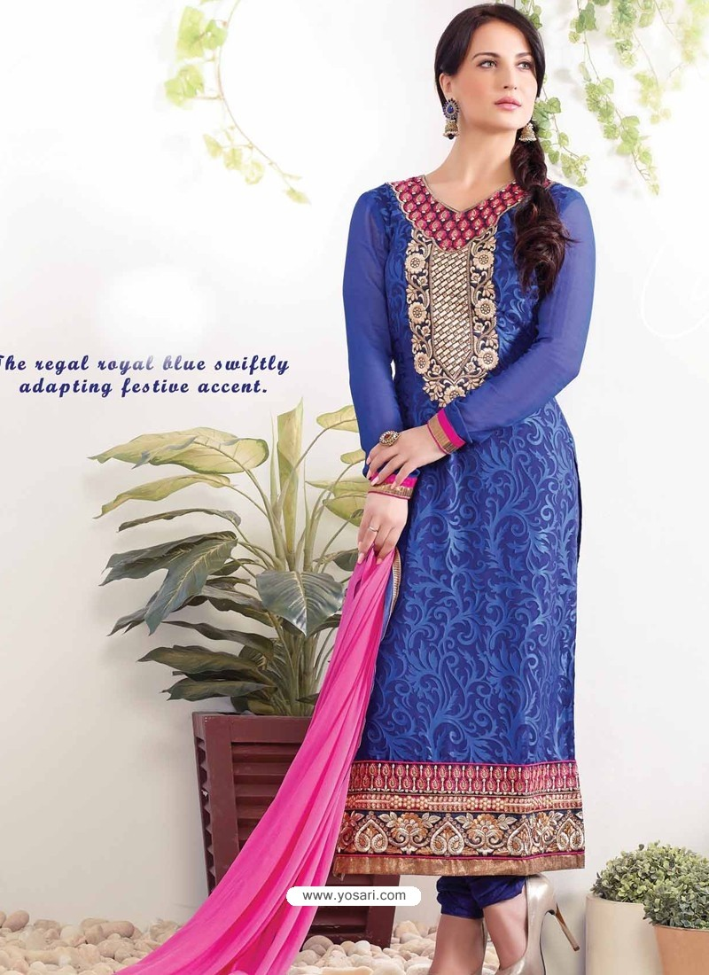 Blue Zari Work Churidar Suit