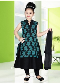 Flattering Black Art Silk Salwar Kameez