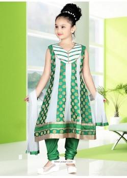 Glossy Green Art Silk Salwar Kameez