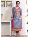 Grey Zari Work Churidar Suit
