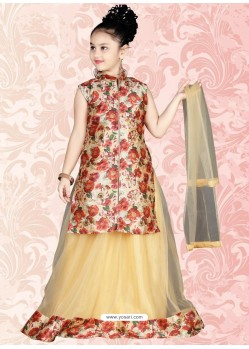 Appealing Beige Floral Print Salwar Kameez