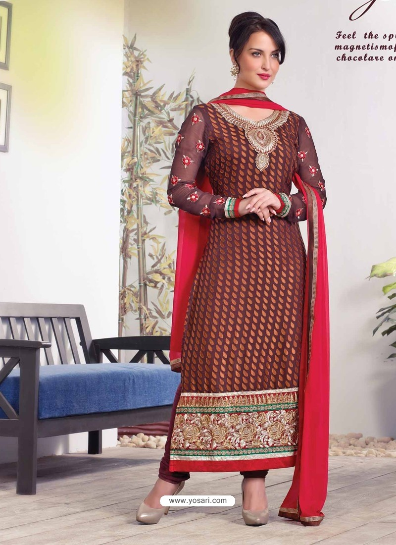 Red And Black Zari Work Churidar Suit