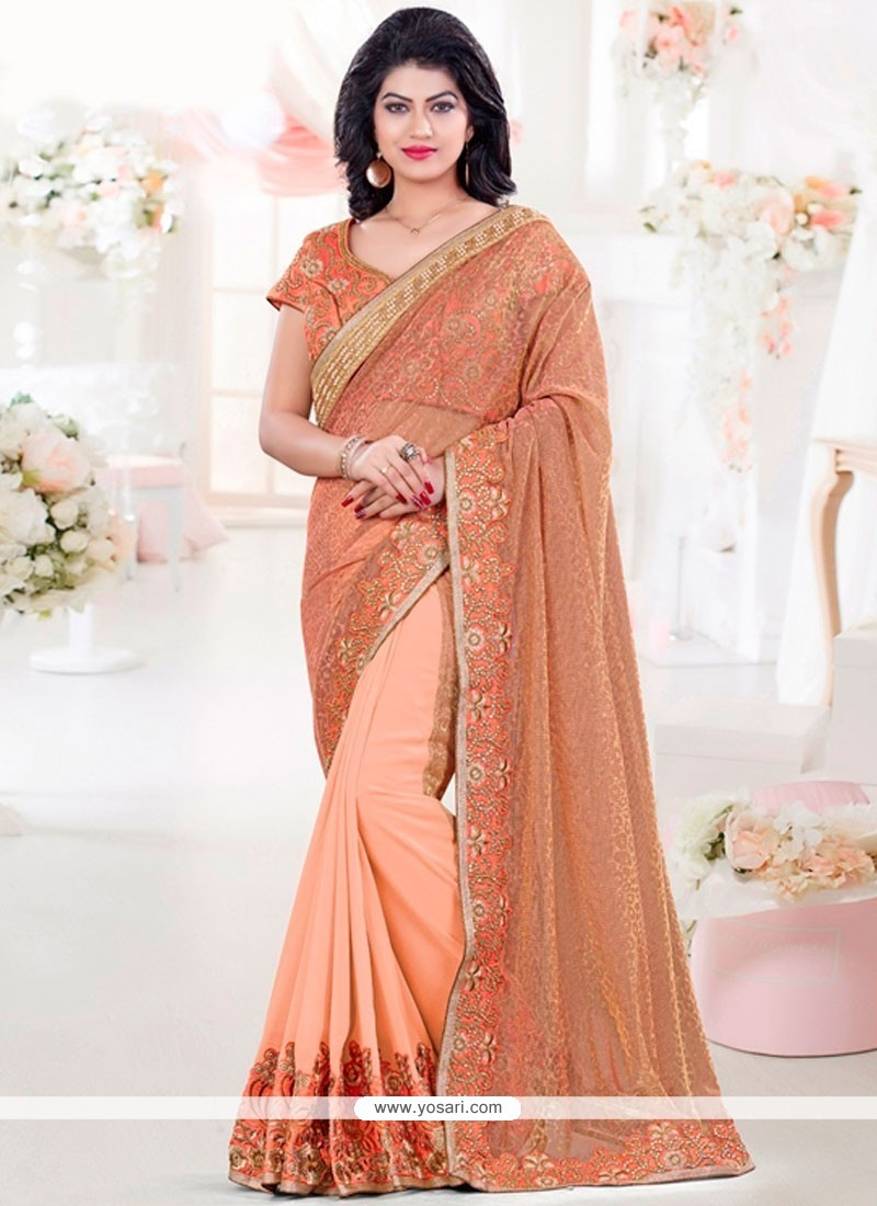 Prodigious Embroidered Work Orange Net Classic Saree