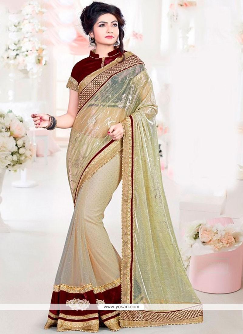 Patch Border Net Designer Saree In Beige