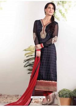 Black Zari Work Churidar Suit