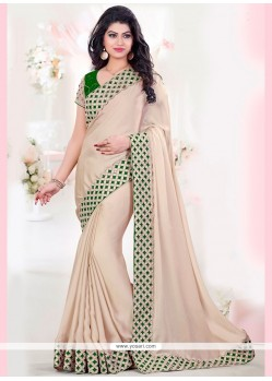 Celestial Faux Georgette Beige And Green Cut Work Traditional Designer Saree