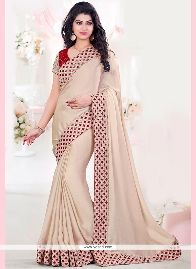 Modish Beige And Red Cut Work Art Silk Designer Traditional Saree