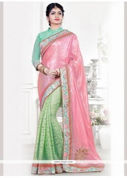 Pink And Sea Green Patch Border Work Art Silk Designer Traditional Saree