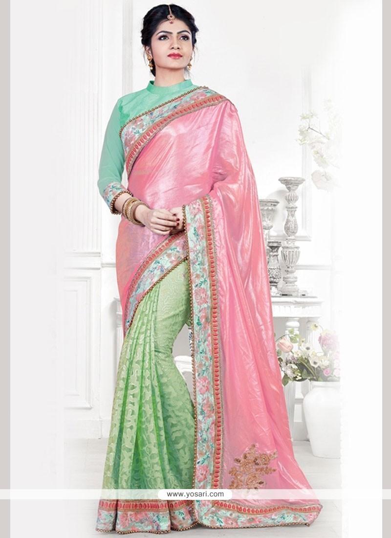 Pink And Sea Green Patch Border Work Art Silk Designer Traditional Saree