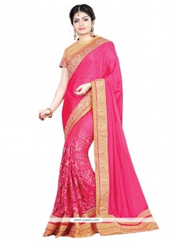 Prepossessing Embroidered Work Hot Pink Designer Traditional Saree