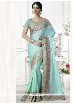 Mystic Turquoise Embroidered Work Art Silk Traditional Designer Saree