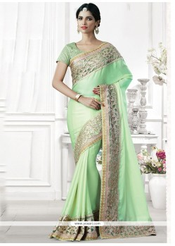 Engrossing Embroidered Work Sea Green Traditional Saree