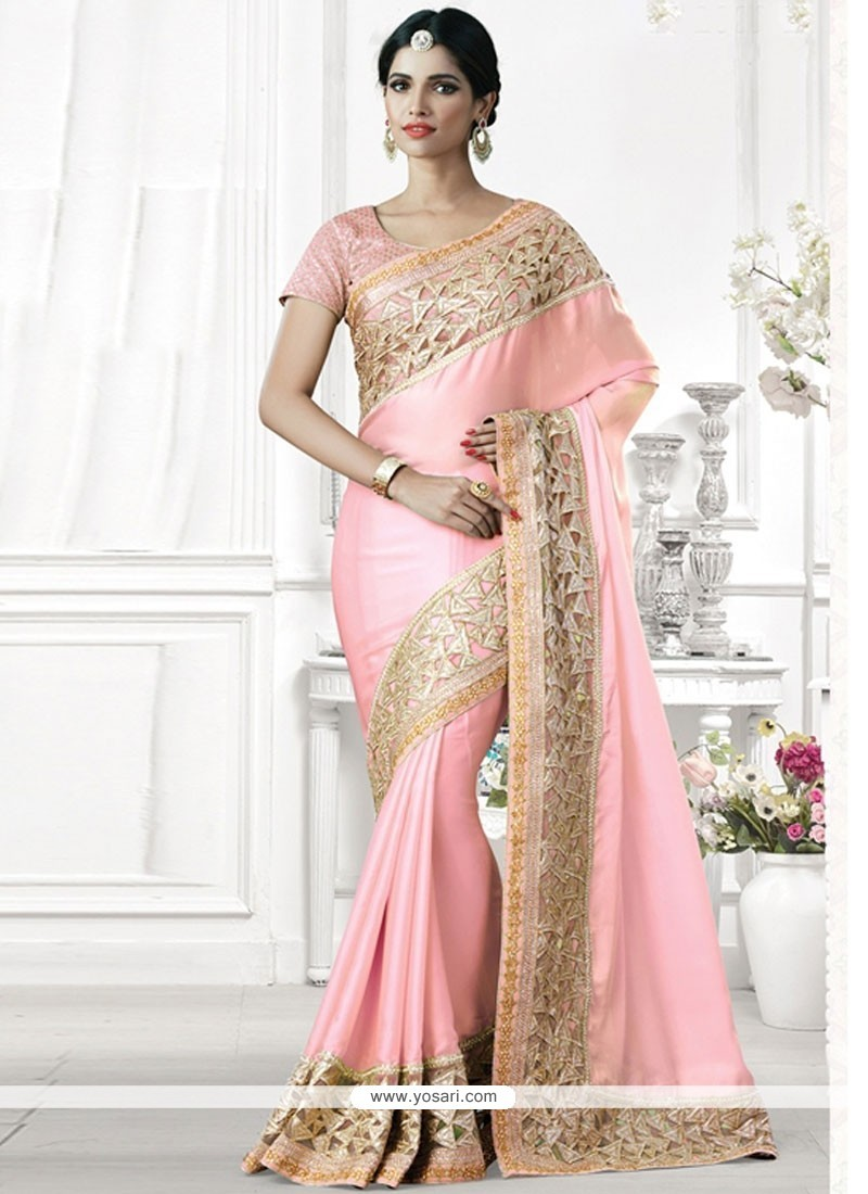 Sumptuous Faux Georgette Pink Embroidered Work Designer Traditional Saree