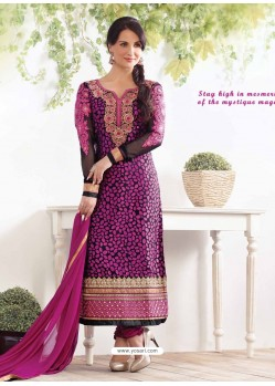 Maganta Zari Work Churidar Suit