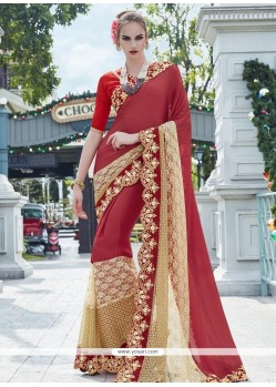 Classy Faux Georgette Embroidered Work Classic Designer Saree