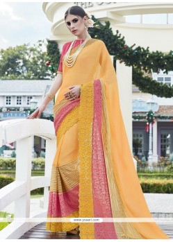 Sightly Yellow Lace Work Lycra Designer Saree