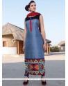 Sonorous Digital Print Work Tafeta Silk Party Wear Kurti