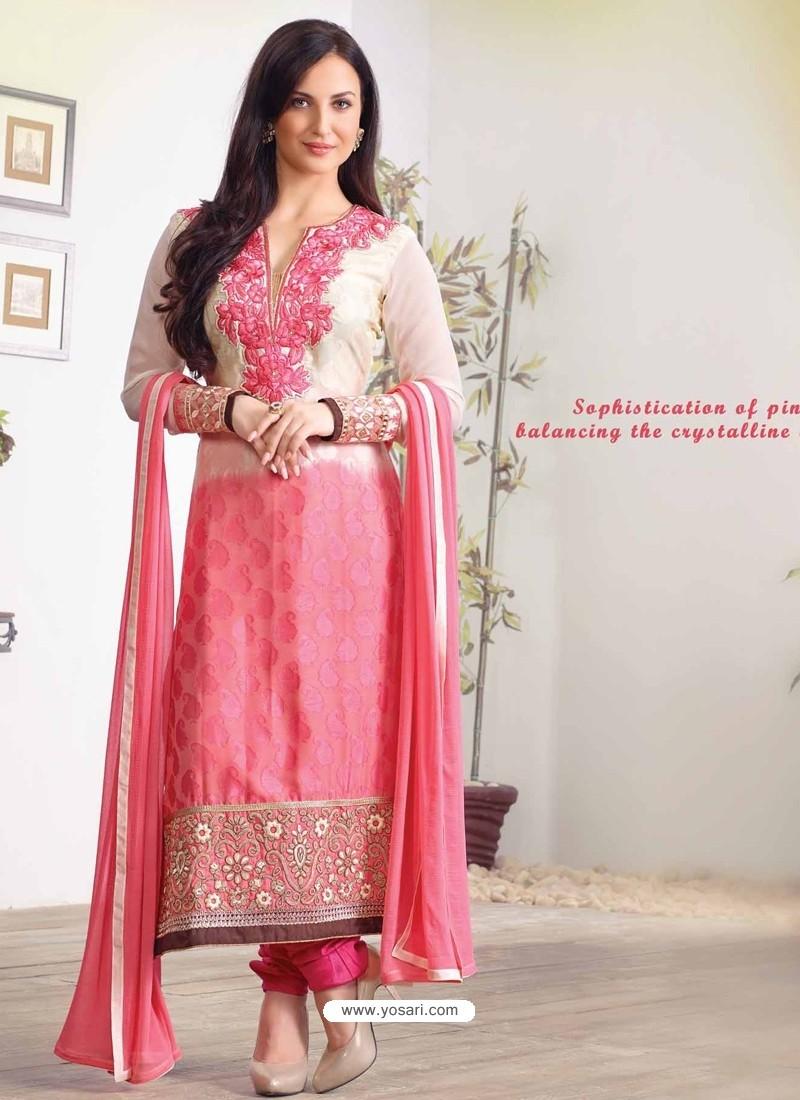 Pink Zari Work Churidar Suit