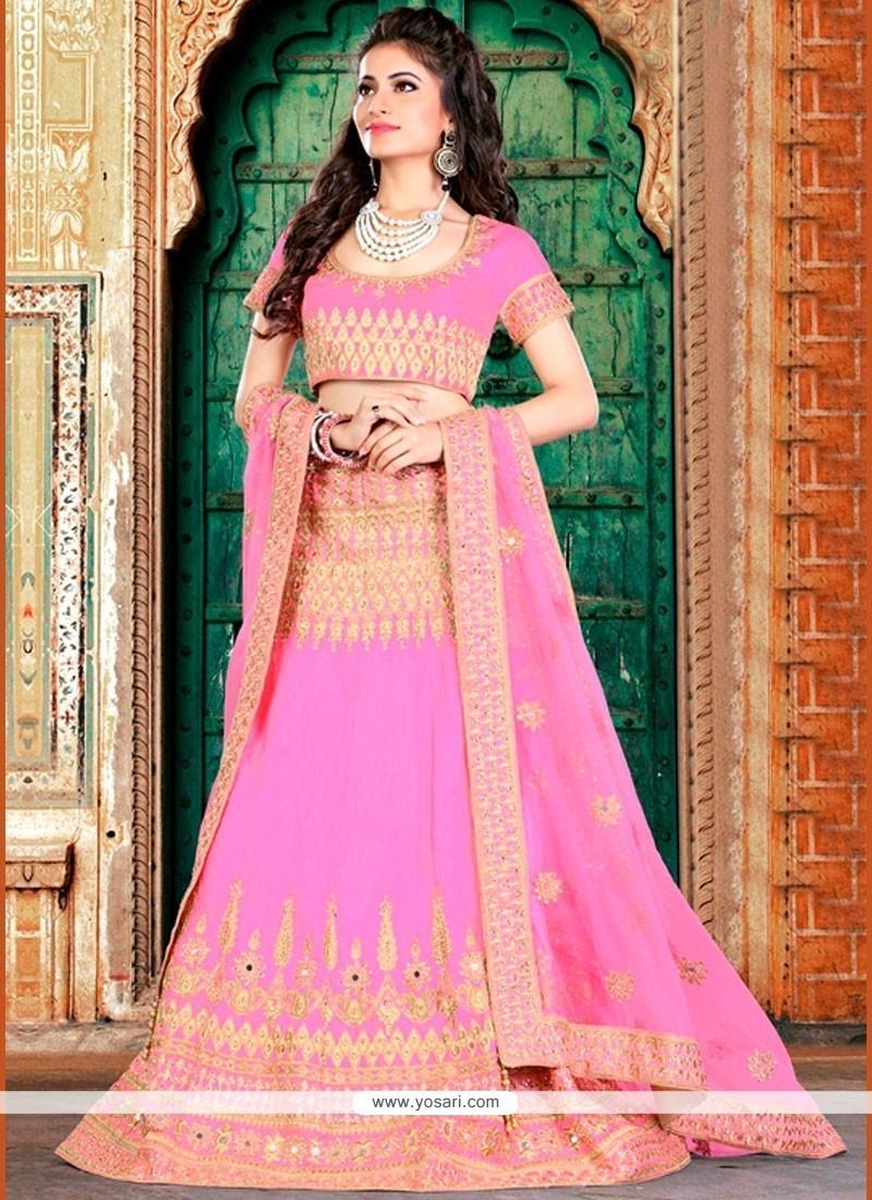 Alluring Art Silk Pink Lehenga Choli