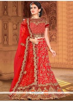 Fashionable Red Art Silk Lehenga Choli
