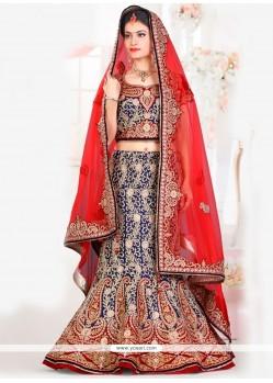 Pretty Navy Blue And Red Velvet Lehenga Choli