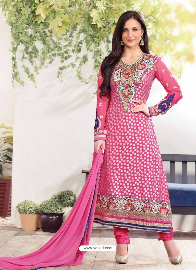 Pretty Pink Zari Work Churidar Suit
