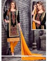 Integral Black And Yellow Embroidered Work Churidar Designer Suit