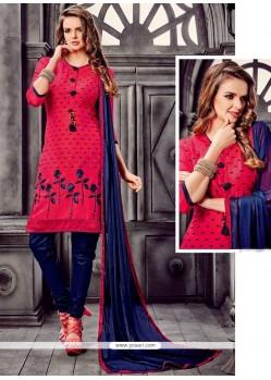 Splendid Embroidered Work Hot Pink And Navy Blue Churidar Designer Suit
