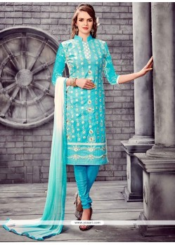 Embroidered Cotton Churidar Designer Suit In Turquoise