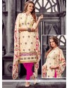Sightly Cotton Cream And Hot Pink Embroidered Work Churidar Designer Suit