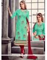 Festal Embroidered Work Cotton Sea Green Churidar Designer Suit