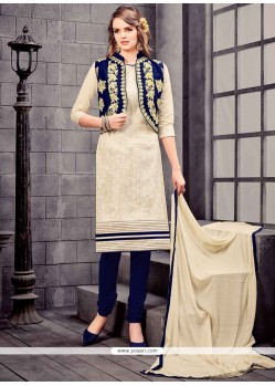 Hypnotic Embroidered Work Navy Blue And White Churidar Designer Suit