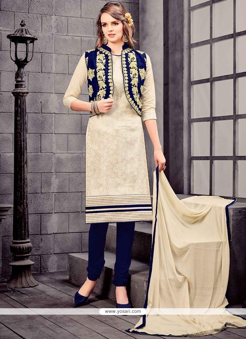 Hypnotic Embroidered Work Navy Blue And White Churidar Designer Suit