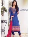 Blue Zari Work Churidar Suit