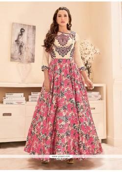 Gauhar Khan Print Work Multi Colour Tafeta Silk Designer Floor Length Suit