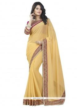 Staring Faux Chiffon Yellow Classic Designer Saree