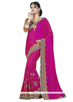 Trendy Hot Pink Embroidered Work Chiffon Satin Classic Saree