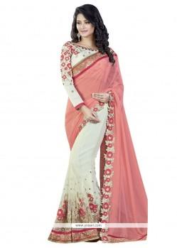 Snazzy Pink And White Patch Border Work Net Designer Half N Half Saree