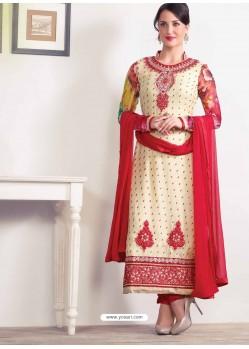 Red and Cream Zari Work Churidar Suit