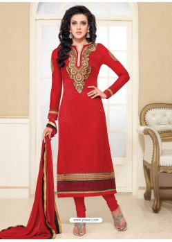 Red Zari Work Churidar Suit