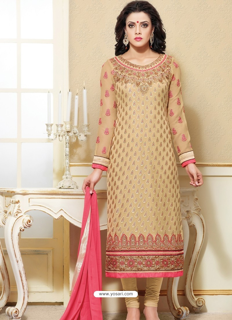 Cream Zari Work Churidar Suit
