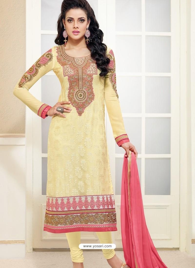 Cream Brasso with Zari Work Churidar Suit