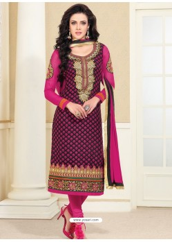 Pink Zari Work Churidar Suit