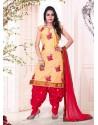 Mustard And Red Cotton Punjabi Patiala Suit