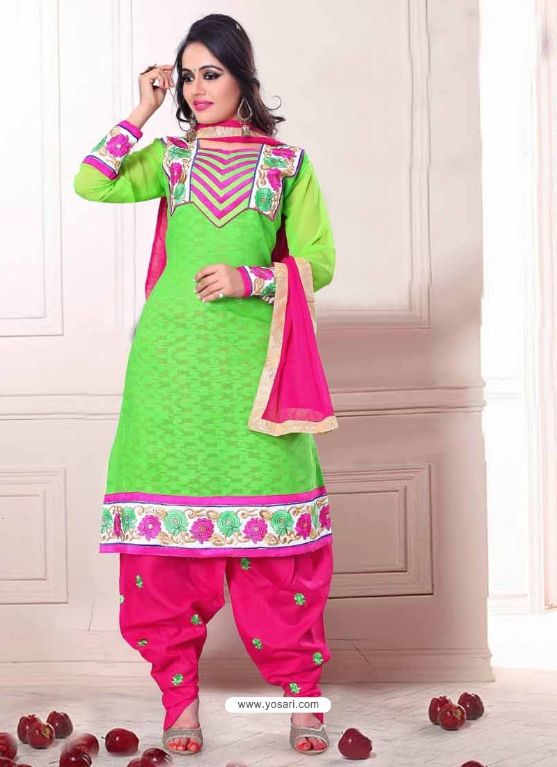 Green And Pink Cotton Punjabi Patiala Suit